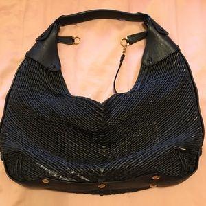 Salvatore Ferragamo woven black leather hobo bag
